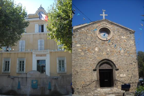 la mairie et l'église de Cogolin (en lien avec la légende de Saint Torpes), Avez vous trouvé les deux coqs ?
