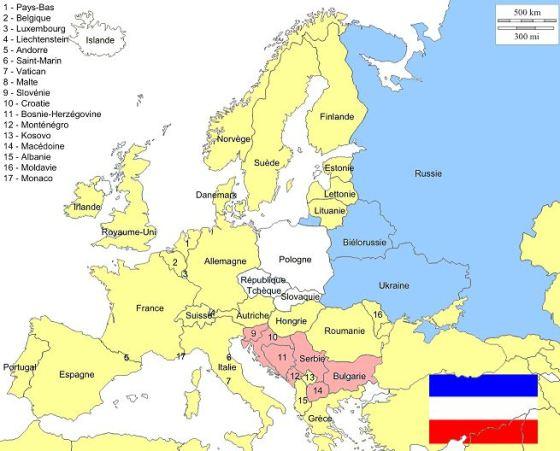 Les Slaves orientaux (bleu), occidentaux (blanc) et méridionaux (rouge).